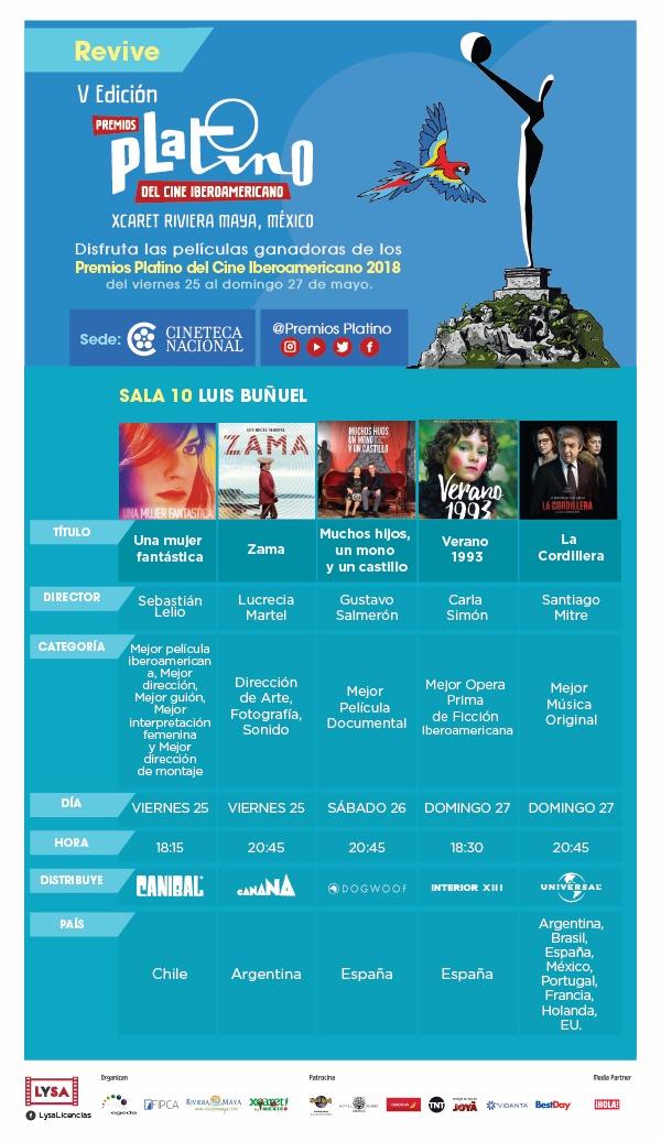 La Cineteca Nacional de México programa un ciclo con cinco largometrajes galardonados en la quinta edición de los Premios PLATINO